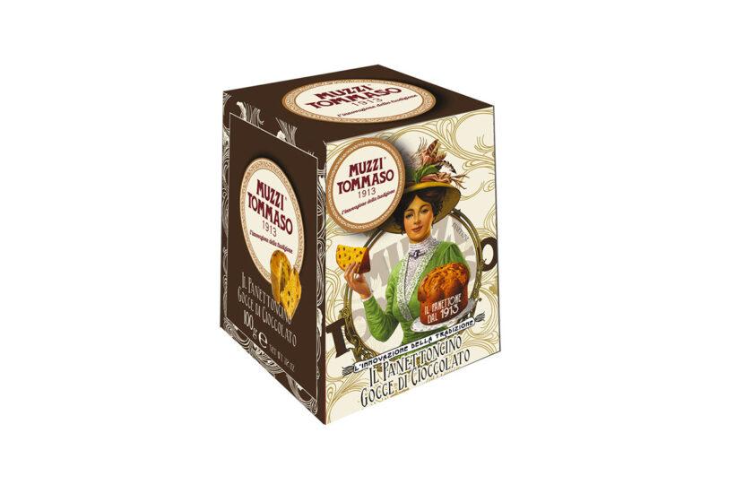 Panettoncino gocce di cioccolato in astuccio Tommaso Muzzi linea classica in astuccio